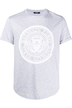 Balmain Men Short Sleeve - Logo-print short-sleeve T-shirt - Grey
