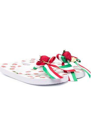 MONNALISA Girls Flip Flops - Strawberry print flip-flops