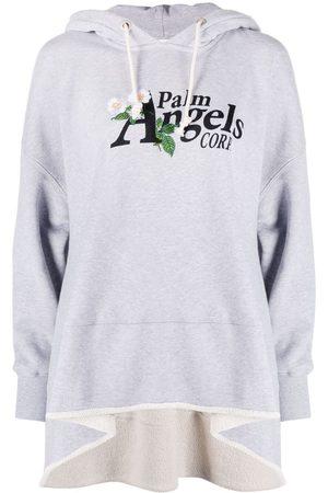 Palm Angels Women Ponchos & Capes - Daisy Logo drawstring-hood poncho - Grey