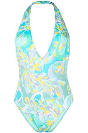 Emilio Pucci Graphic-print halterneck swimsuit