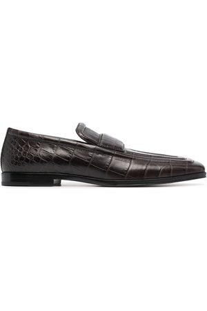 Bottega Veneta Crocodile-effect square toe loafers