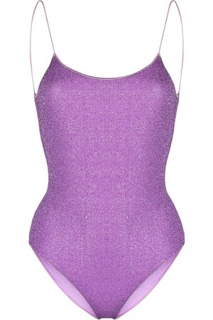 Oseree Lumiere open-back glitter swimsuit