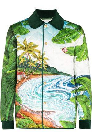 Casablanca Men Jackets - Idyllic-print quilted shirt jacket