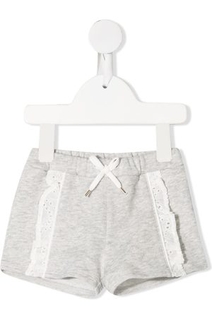 Chloé Embroidered-trim cotton shorts - Grey