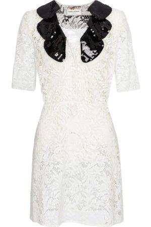 Saint Laurent Sequined cotton-blend lace minidress