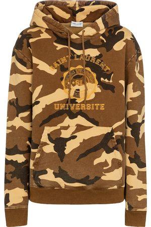 Saint Laurent Camouflage cotton jersey hoodie