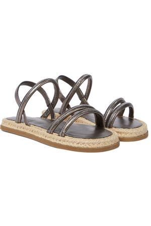 Brunello Cucinelli Metallic leather espadrille sandals