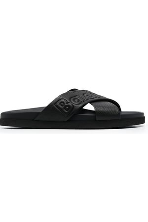 BALDININI Embossed-logo leather slides