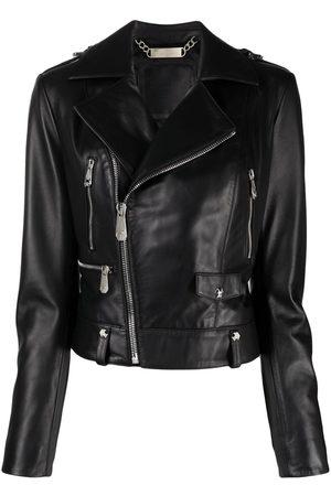 Philipp Plein Women Leather Jackets - Leather biker jacket