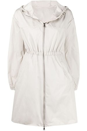 Moncler Belted hooded coat - Neutrals