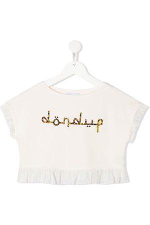 DONDUP KIDS Girls Crop Tops - Logo cropped top - Neutrals