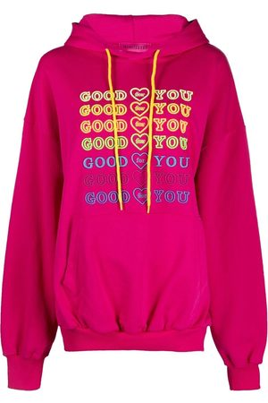 Ireneisgood Embroidered slogan drawstring hoodie