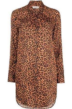 LANEUS Leopard-print shirt dress