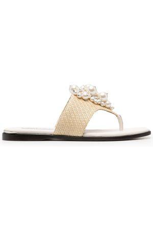 Jimmy Choo Women Flip Flops - Asti faux-pearl embellished flip flops - Neutrals
