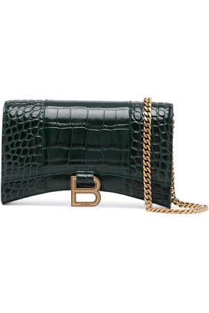 Balenciaga Hourglass crocodile-effect chain wallet