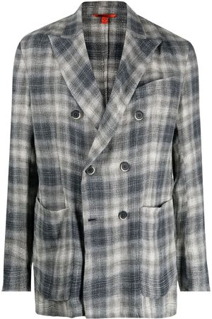 BARENA Checked double-breasted blazer - Grey
