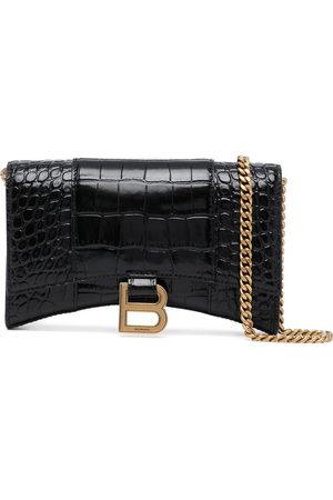 Balenciaga Women Wallets - Hourglass crocodile-effect chain wallet