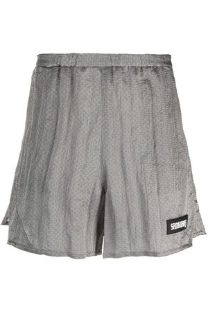SANKUANZ Geometric-patterned track shorts - Grey