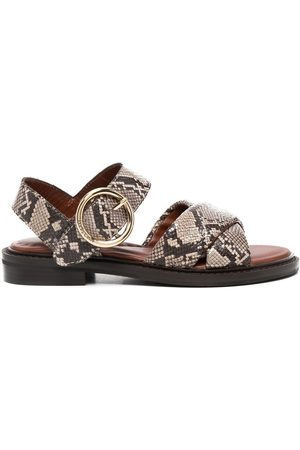 See by Chloé Snakeskin-print leather sandals - Grey