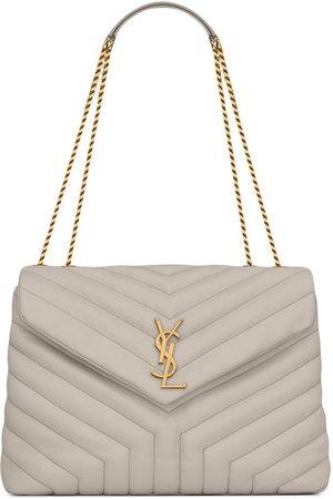 Saint Laurent Medium Loulou quilted shoulder bag - Neutrals
