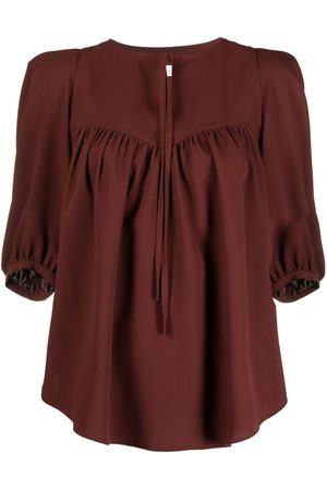 See by Chloé Tie collar short-sleeve blouse