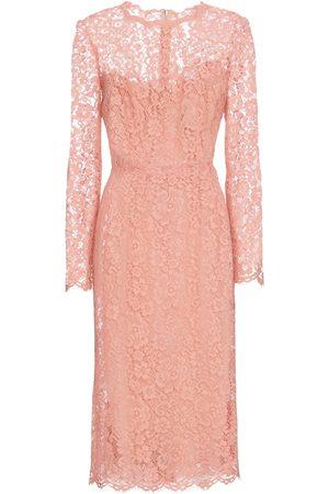 Dolce & Gabbana Women Printed Dresses - Floral lace midi dress