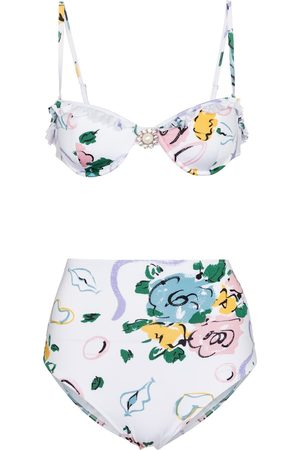 Alessandra Rich Floral bandeau bikini