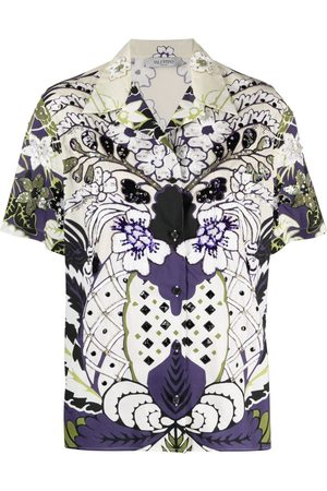 VALENTINO Arazzo-print sequined shirt - Neutrals