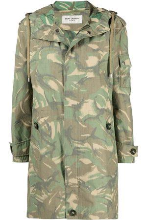 Saint Laurent Women Coats - Camouflage-print hooded coat