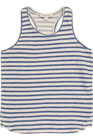 Caramel Bluebottle striped cotton and linen tank top