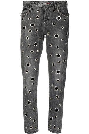 Philipp Plein Ring-detail boyfriend jeans - Grey