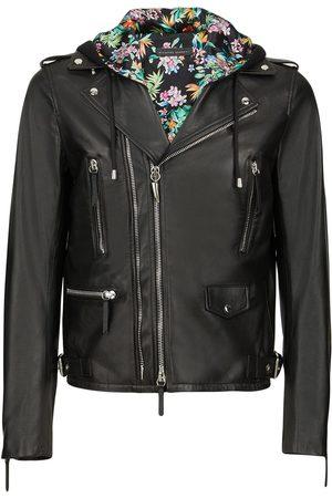 Giuseppe Zanotti Men Jackets - Floral-lining biker jacket