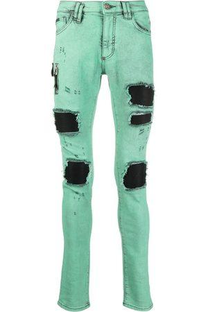 Philipp Plein Men Skinny - Distressed biker jeans