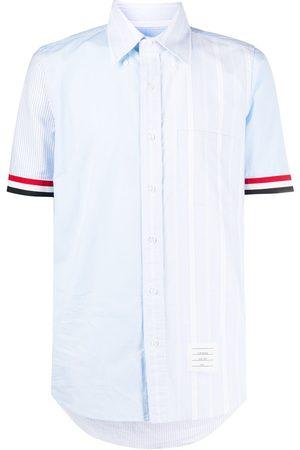 Thom Browne Men Short sleeves - RWB-stripe short sleeve shirt