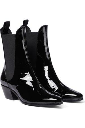 Khaite Saratoga patent leather ankle boots
