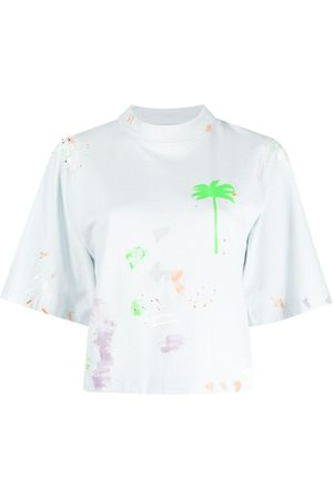 Palm Angels Women T-shirts - Palm-print paint-splatter T-shirt