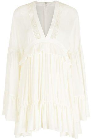 Saint Laurent Women Party Dresses - V-neck silk mini dress