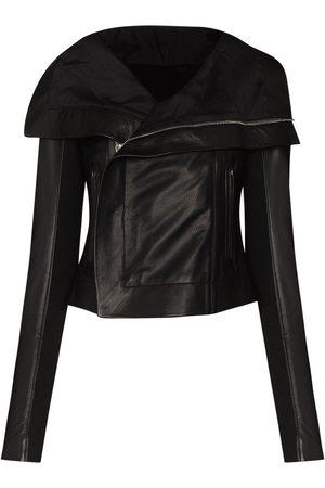 Rick Owens Women Leather Jackets - Leather biker jacket