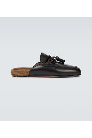 Tom Ford Leather shearling-lined slippers