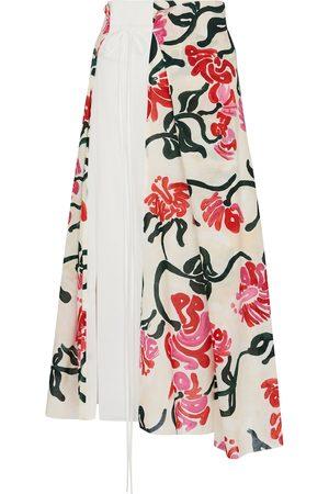 Marni Floral cotton wrap skirt