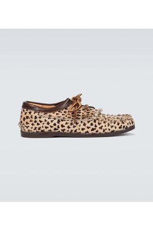 YUKETEN Leopard Blucher shoes with kiltie
