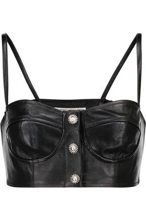 Alessandra Rich Women Crop Tops - Embellished leather bralette