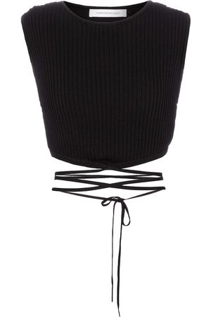 CHRISTOPHER ESBER Ribbed-knit wrap crop top