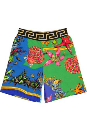 VERSACE Printed cotton jersey shorts