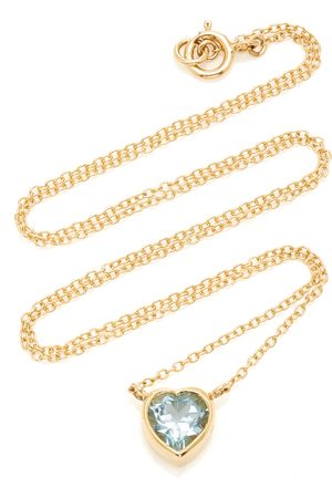Katey Walker Women's Tiny Heart 18K Gold and Topaz Necklace - - Moda Operandi
