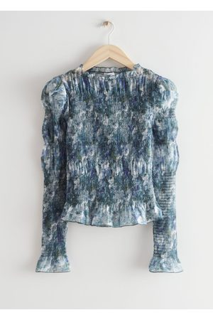 & OTHER STORIES Printed Fitted Smock Top - Grey