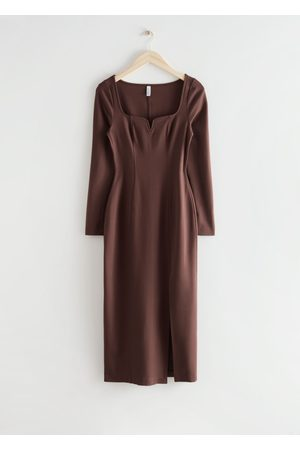 & OTHER STORIES Fitted Sweetheart Neck Midi Dress