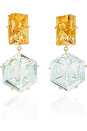 MISUI Women's 18K Gold; Aquamarine and Citrine Earrings - - Moda Operandi