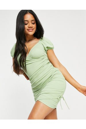 Parallel Lines Ruched cross over mini dress in