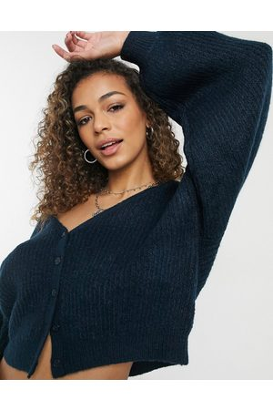 ASOS V neck rib cardigan with wide sleeve in navy - part of a set